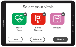 Larger touchscreen telehealth monitor buttons